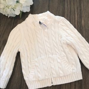 L.L. Bean bright white cable knit sweater